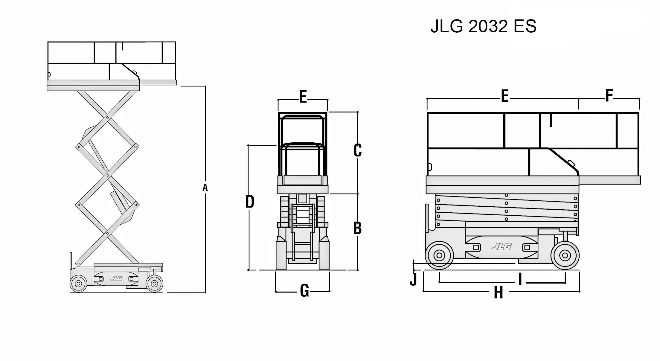 Размеры ножничного подъемника JLG 2032 ES