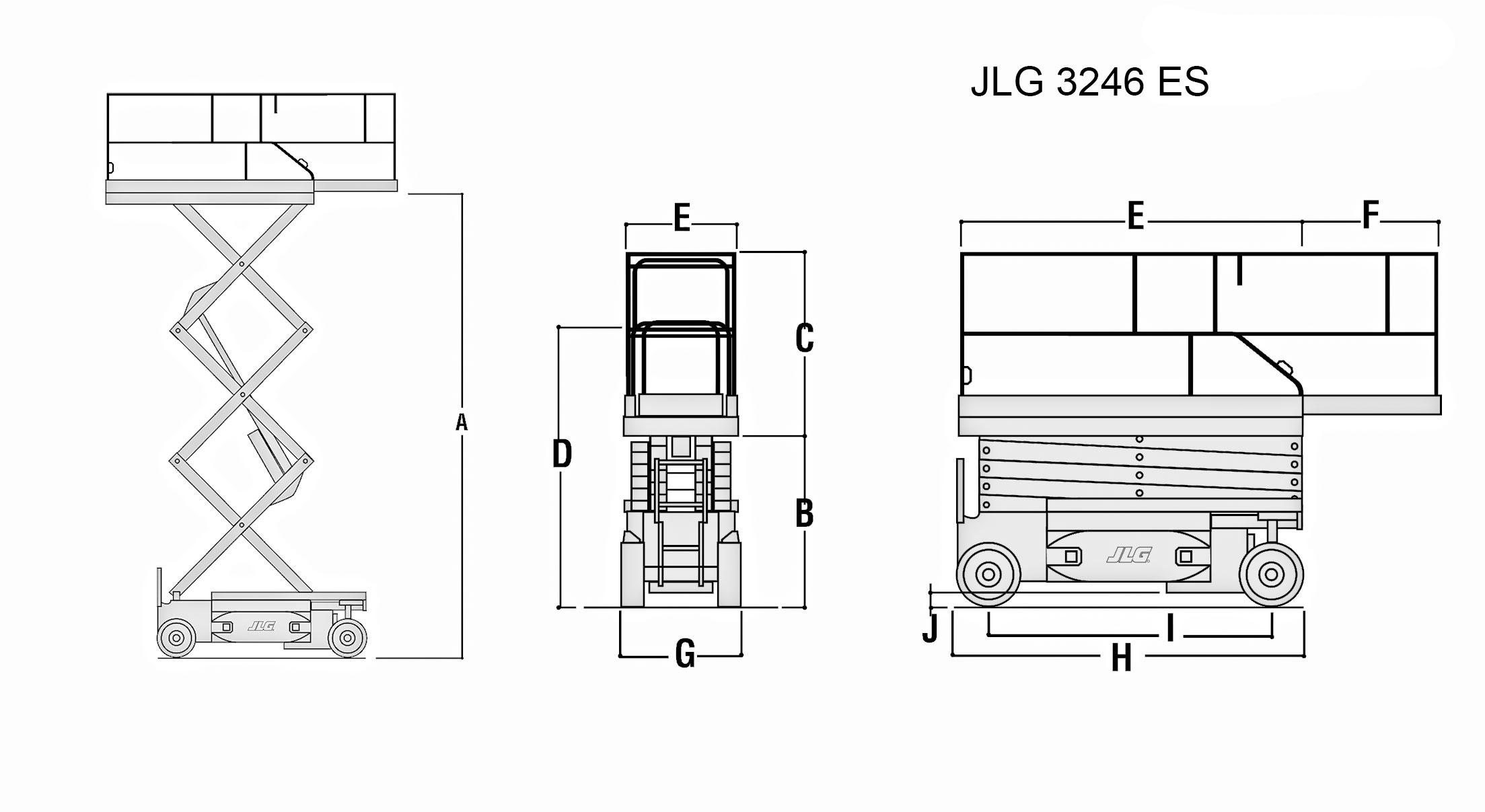 Размеры ножничного подъемника JLG 3246 ES